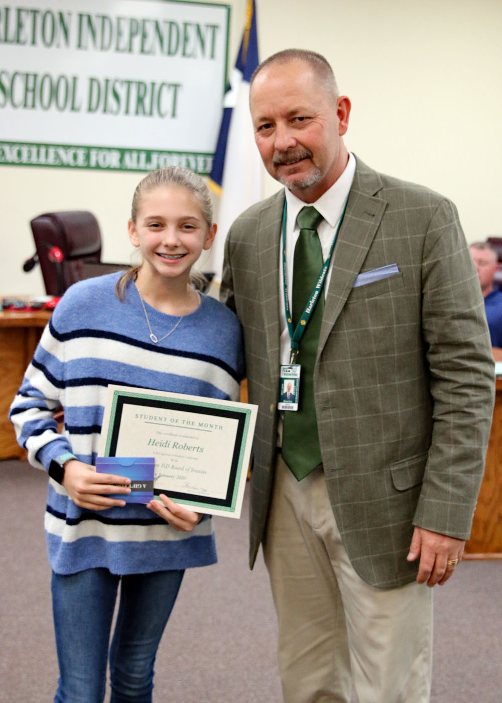 January Student of the Month Heidi Roberts