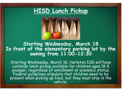 HISD Lunch Pickup