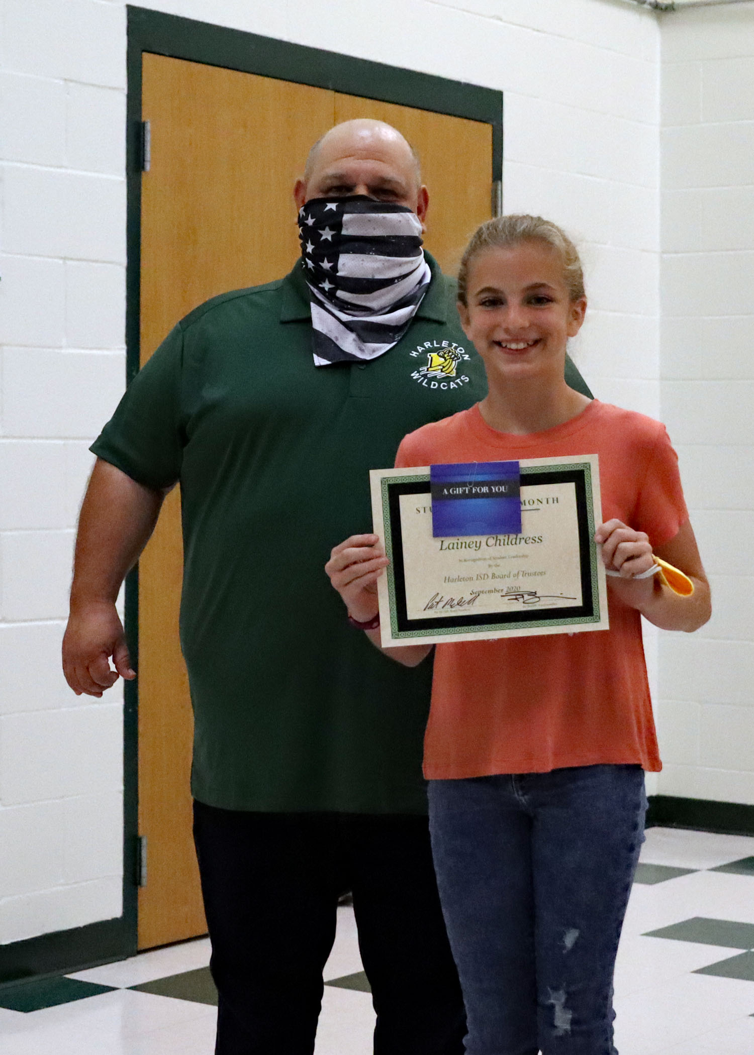 September Student of the Month Lainey Childress