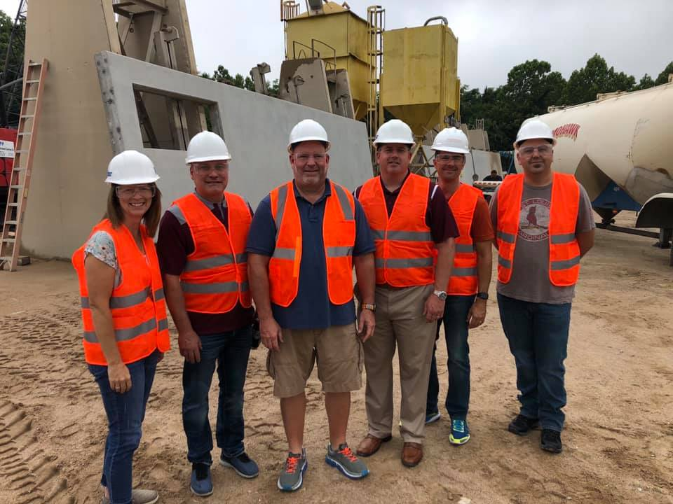 Dr. Katzin, Dr. Randles, Mr. O'Neal and our team of architects visit Prestressed Casting Co.