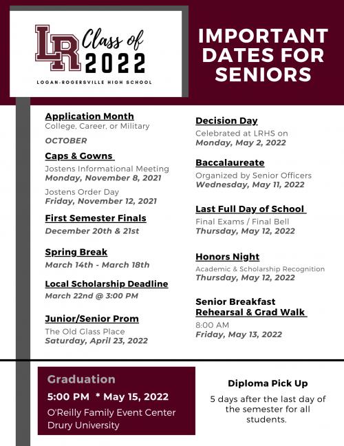 2022 Important Dates for Seniors
