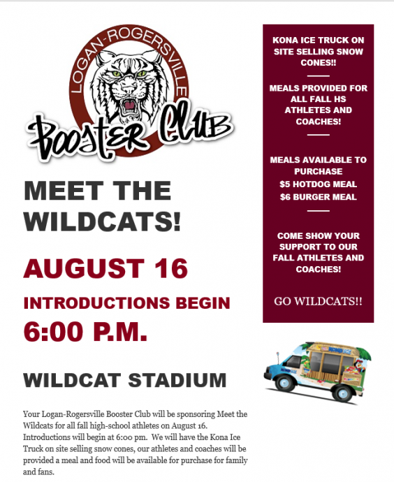 Meet the Wildcats - August 16 at Wildcat Stadium. Introductions begin at 6:00 pm.