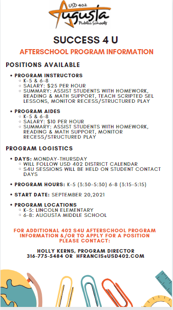 Afterschool Program Positions Available