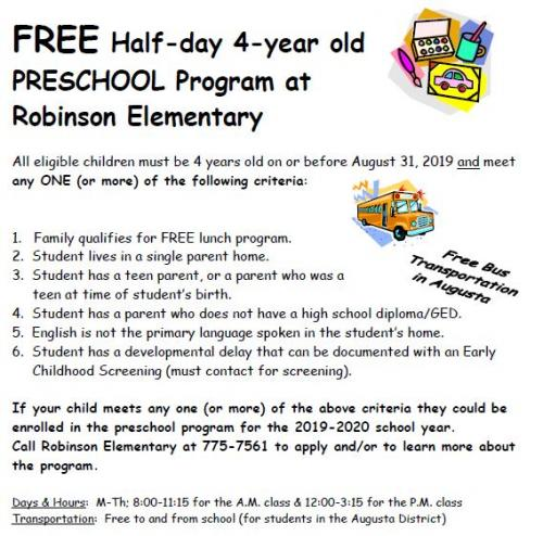 Robinson Preschool Flyer