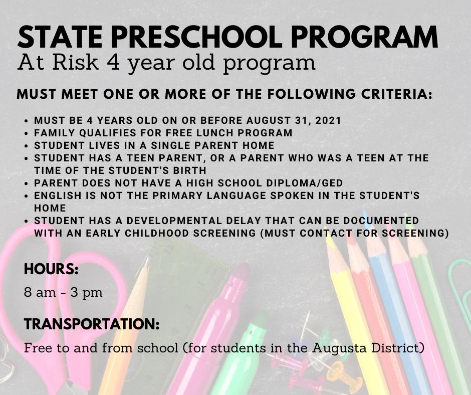At Risk State Preschool Program