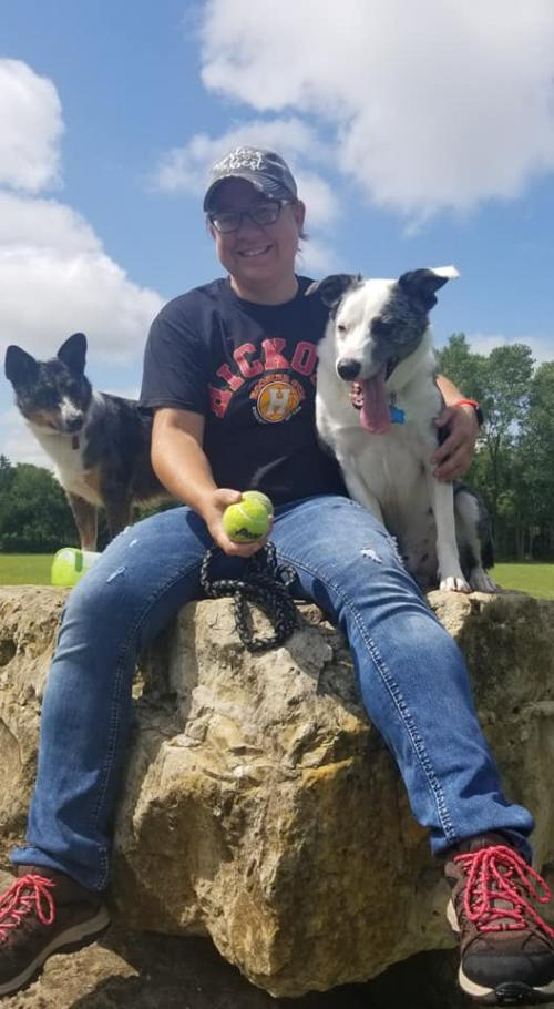 My two dogs and me