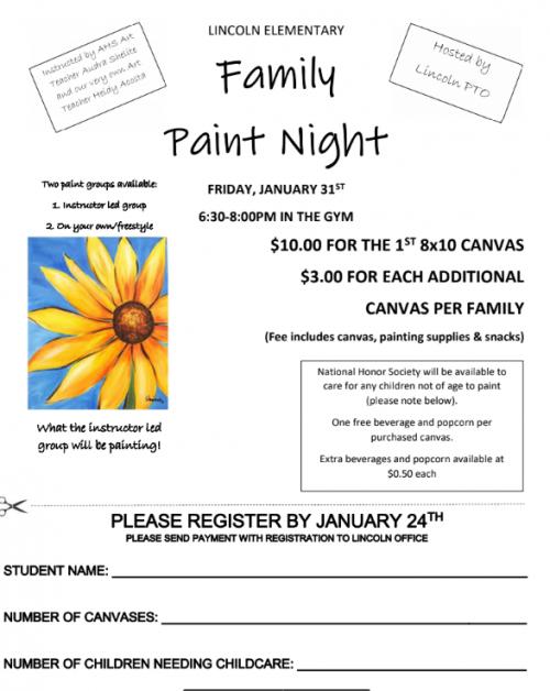 Lincoln Paint Night Jan. 31, 2020