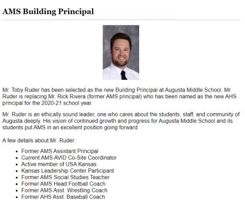 Toby Ruder New AMS Principal