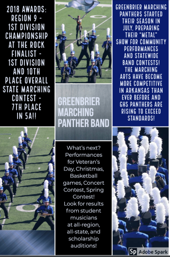 Accolades for our Greenbrier Marching Panther Band!