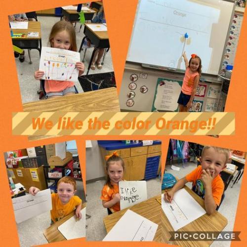 Kindergarten students wearing orange