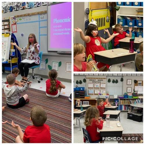 Kindergarten students wearing red