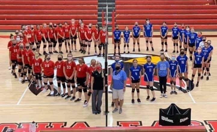 GMS & Vilonia Volleyball teams rallied together to support our GMS student, Brody Wilcox!