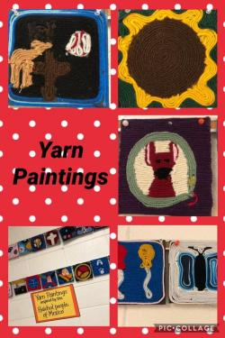 GMS Art students showing their talent with Yarn Paintings!