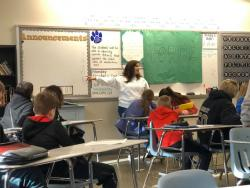 Thumbnail Image for Article Mrs. Buchanan leads our GMS students in using the T.H.I.N.K acronym before spreading hurtful rumors.