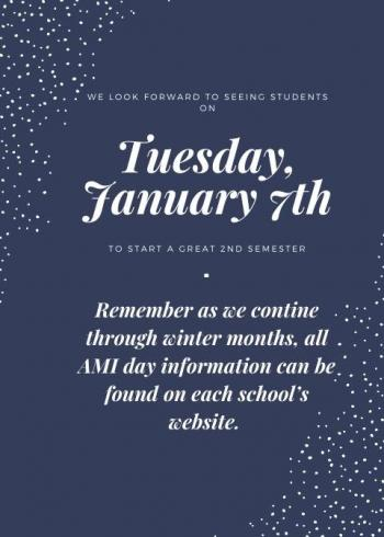 Happy New Year!! We look forward to seeing our GMS students on Tuesday January 7, 2020!!