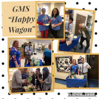 "Thumbnail Image for Article The GMS ""Happy Wagon"" visited teachers & staff today to celebrate all their hard work!"
