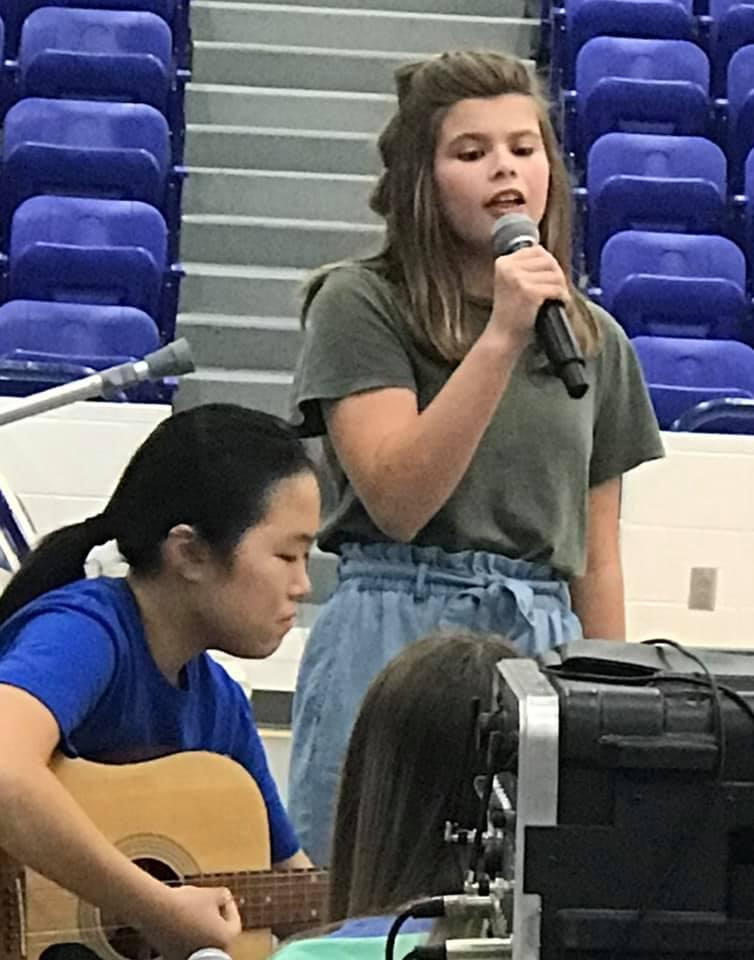 GMS students, Lillian Sorrells and Grace Price captivated the audience at the GHS volleball games.