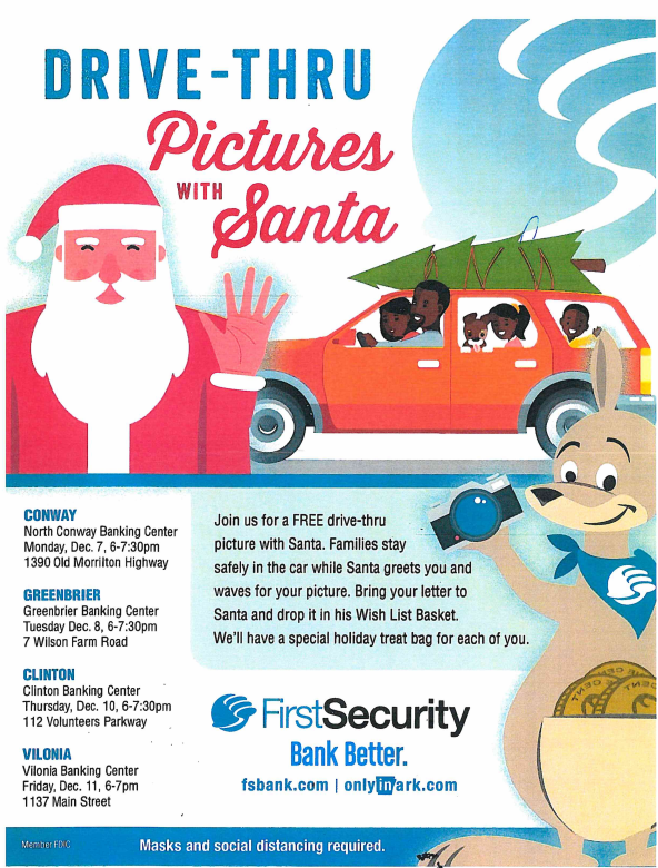 Drive-thru pictures with Santa!