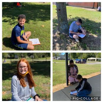 GMS students enjoy learning Root Words outside during their Strategic Reading classes.