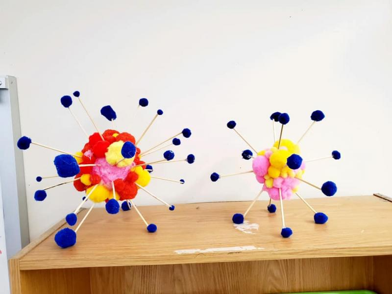 7th Grade Science students have been busy making models of atoms in science this week!
