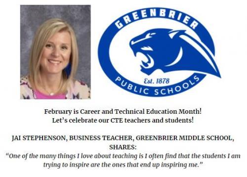 GMS Recognizes Ms. Jai Stephenson during CTE Month!