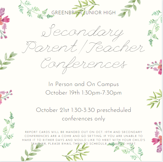 P/T Conferences Coming Up