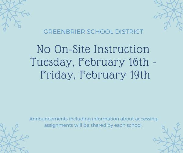 No on-site instruction this week!