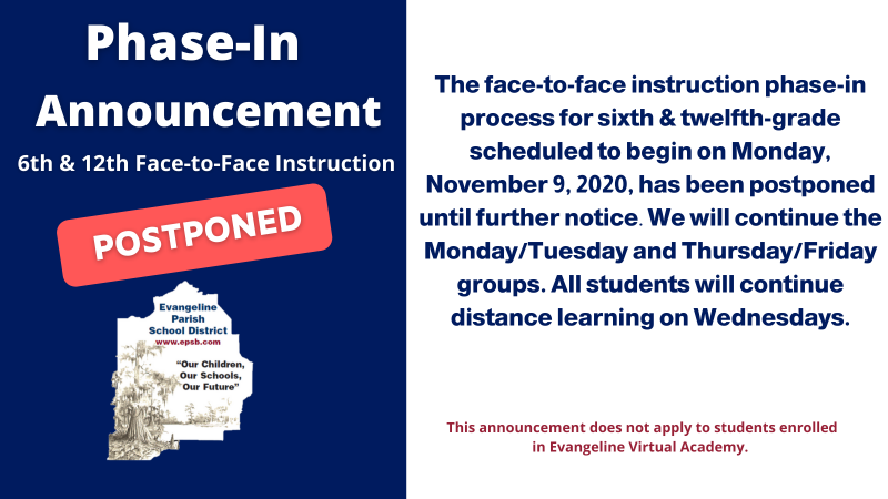 Phase-in  6th & 12th Face-to-Face Instruction Postponed