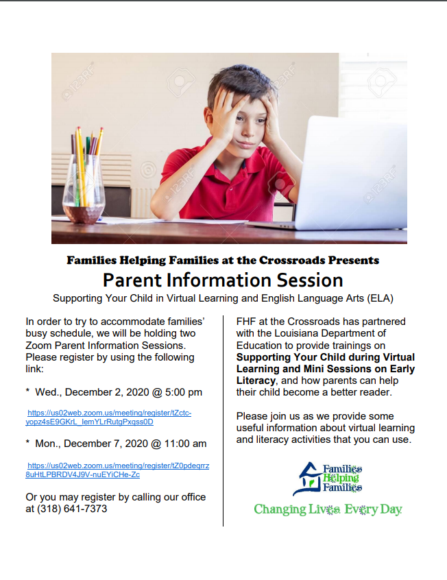 Families Helping Families at the Crossroads Presents Parent Information Session