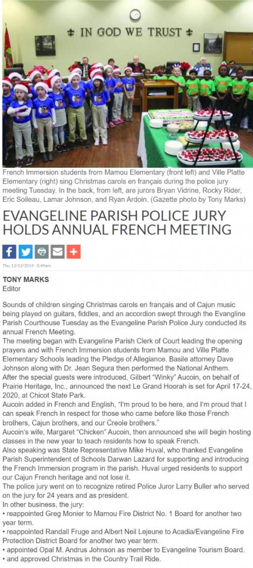 Article about French Immersion Students at Evangeline Parish Police Jury Meeting