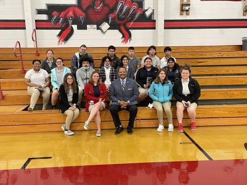 District Attorney John Belton with students