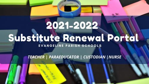 2021-2022 Substitute Renewal Portal Banner