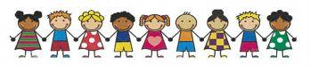 Clip art of little children holding hands