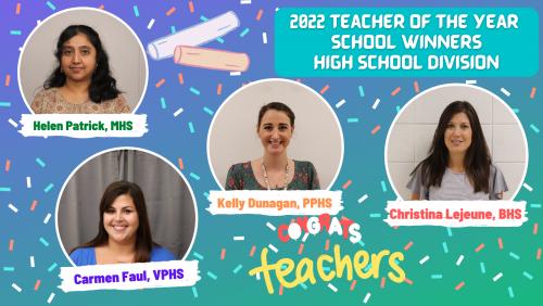 2022 High School Division Teacher of the Year School Winners
