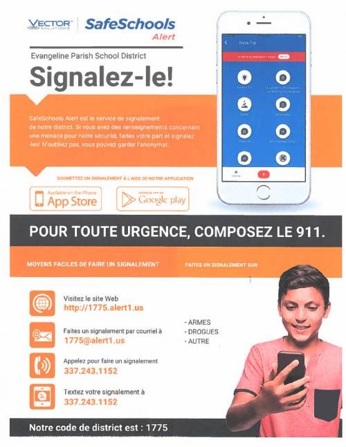 Safe Schools Alert Flyer (French) with link to PDF