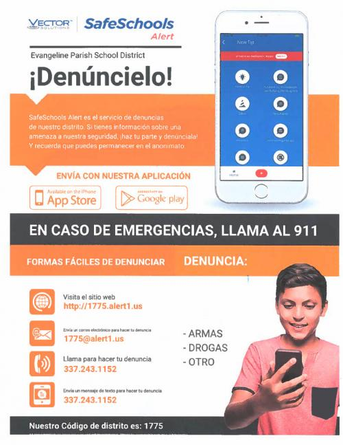 Safe Schools Alert Flyer (Spanish) with link to PDF