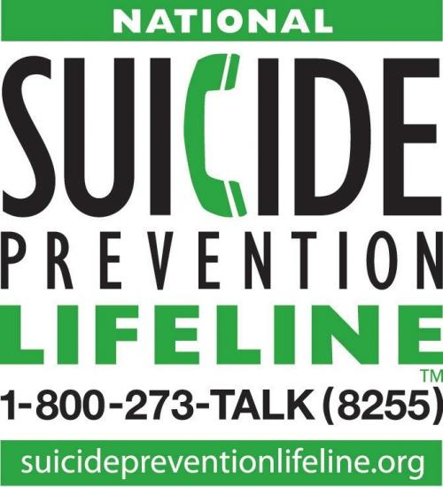 Suicide Prevention Logo with link to Suicide Prevention Life Line website