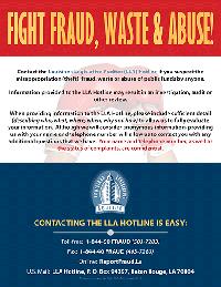 Louisiana Legislative Auditor Fraud Flyer