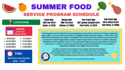 Summer Food Service Program Schedule Image