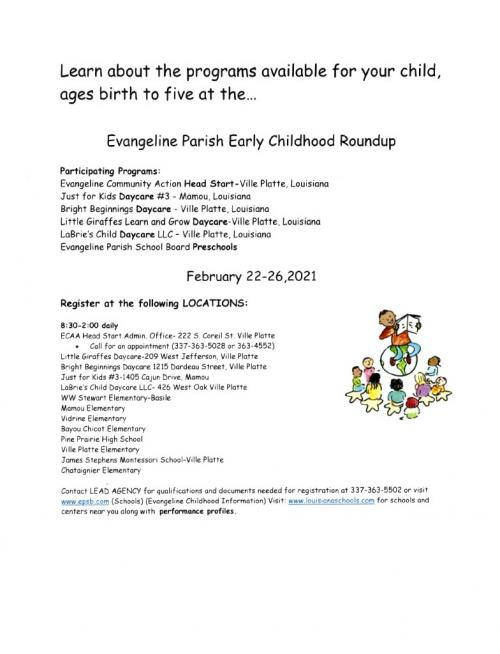 Early Childhood Flyer with link to PDF
