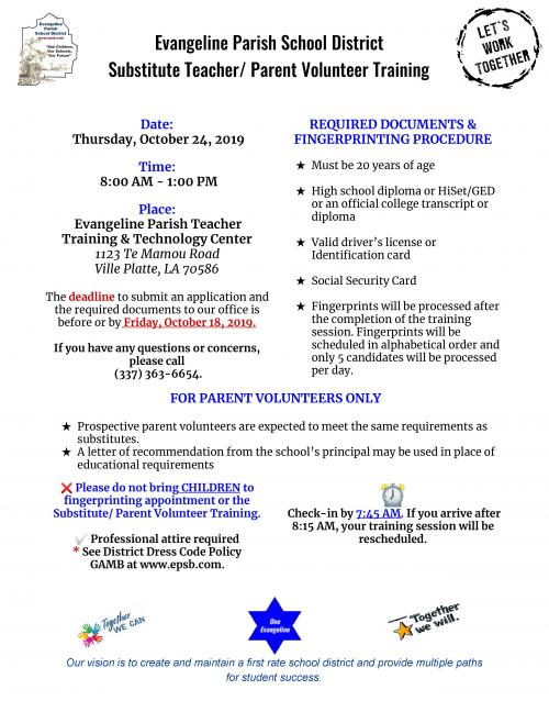 Substitute Teacher / Parent Volunteer Training Flyer