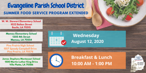 Summer Food Service Program Extended