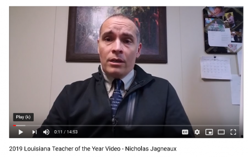 High School Teacher of the Year Nicholas Jagneaux