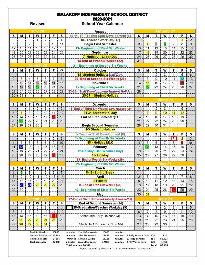 2020-21 Revised School Calendar