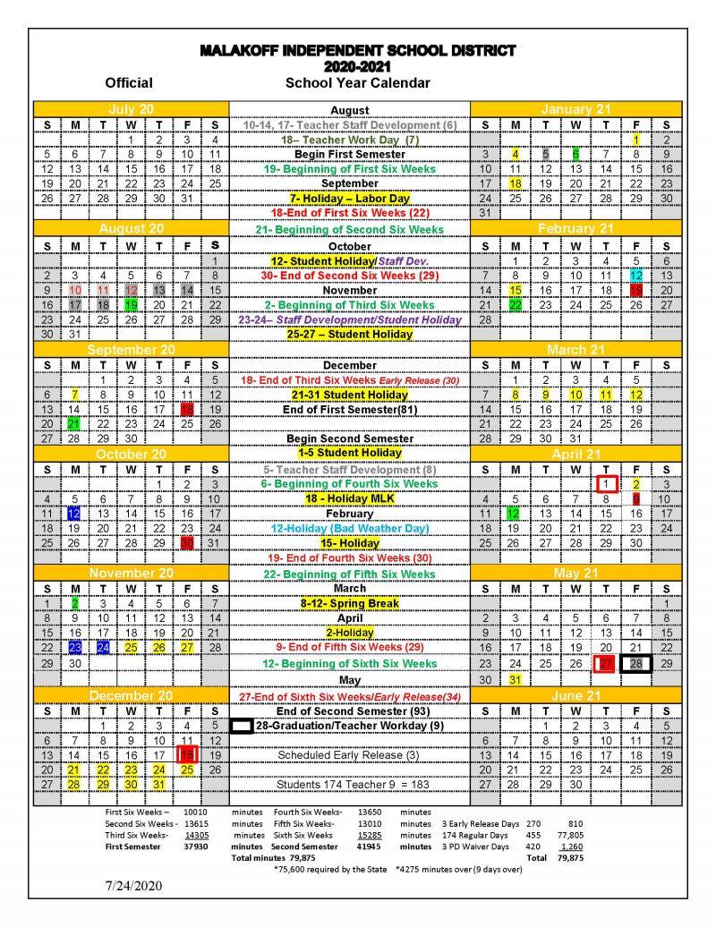 2020-21 Official School Calendar