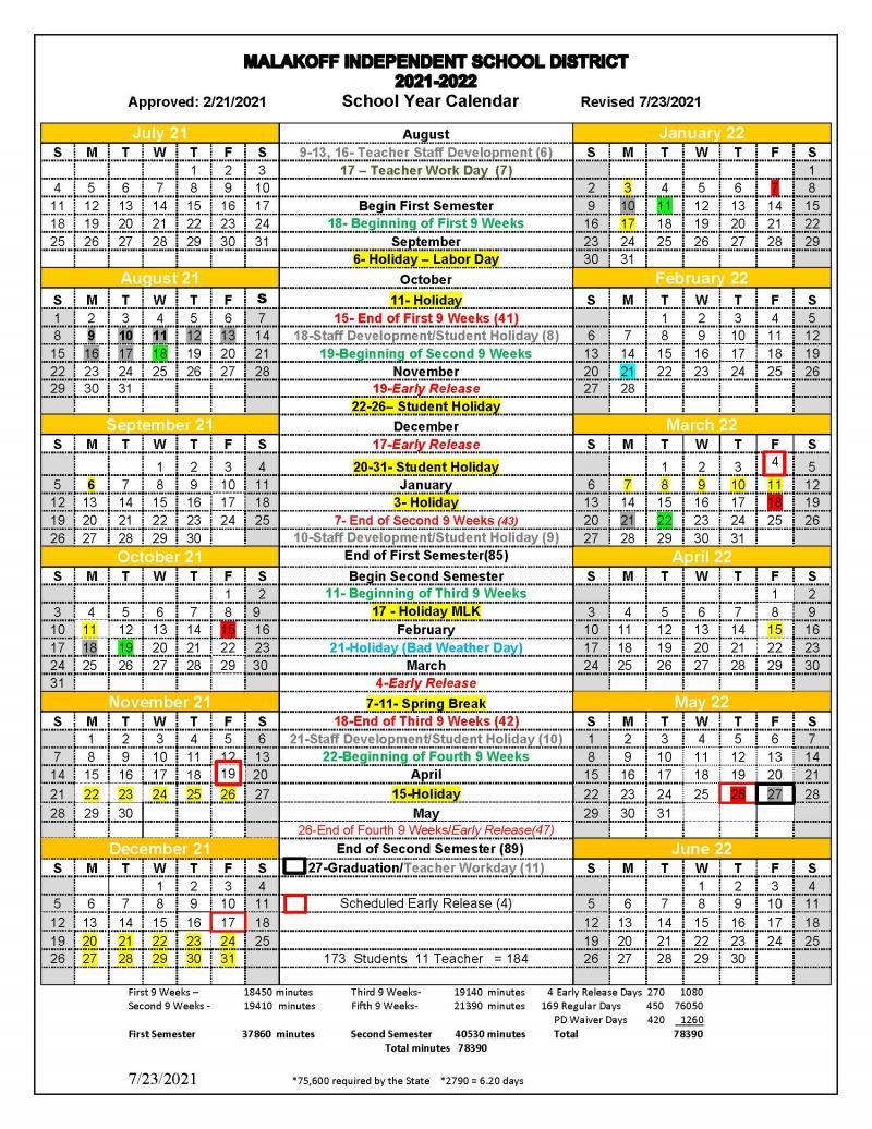 2021-22 MISD School Calendar