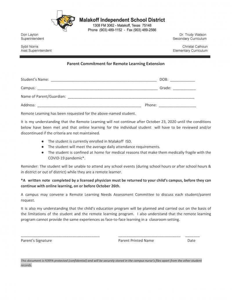 Parent Commitment Form for Remote Learning