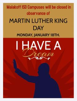 In Observance of MLK Day all Campuses Closed