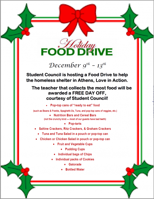 MHS Student Council Food Drive December 9-13th.