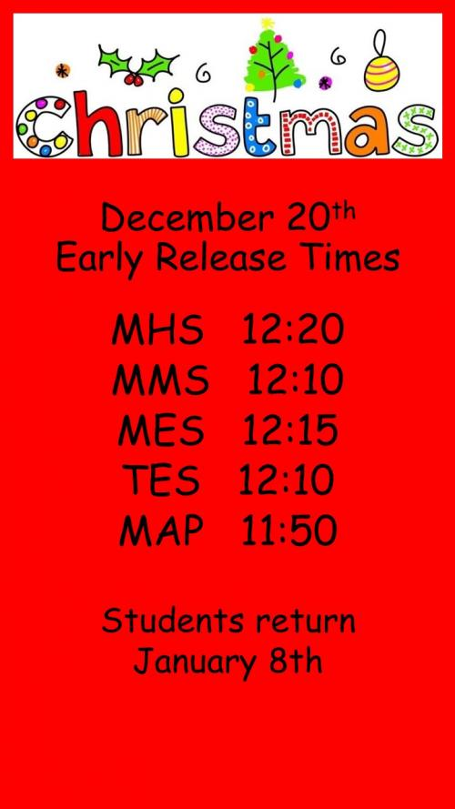 December 20th Early Release Times